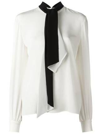 lanvin neck tie blouse black white pinterest tie blouse