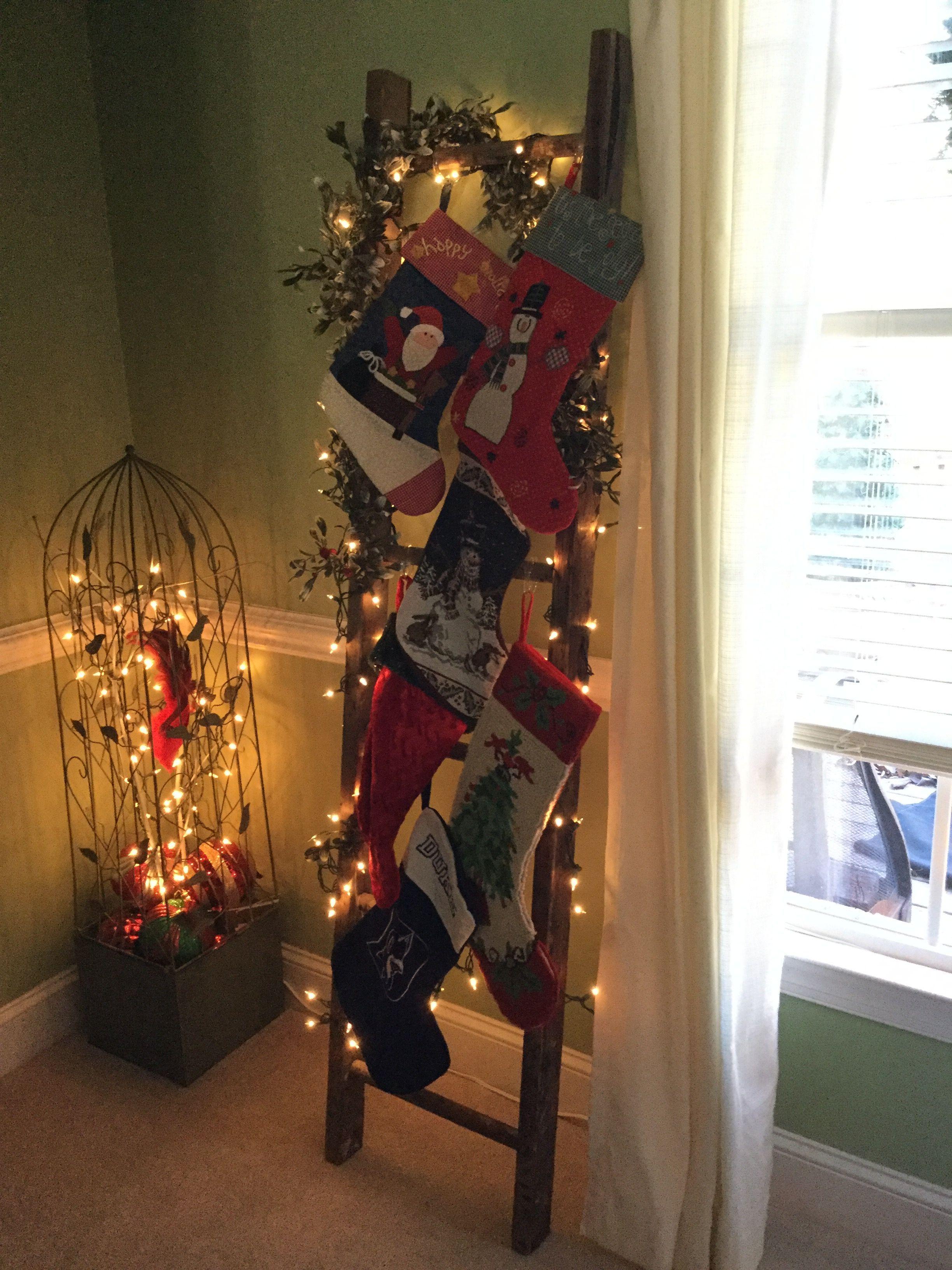 Antique ladder stocking holder Christmas decor diy