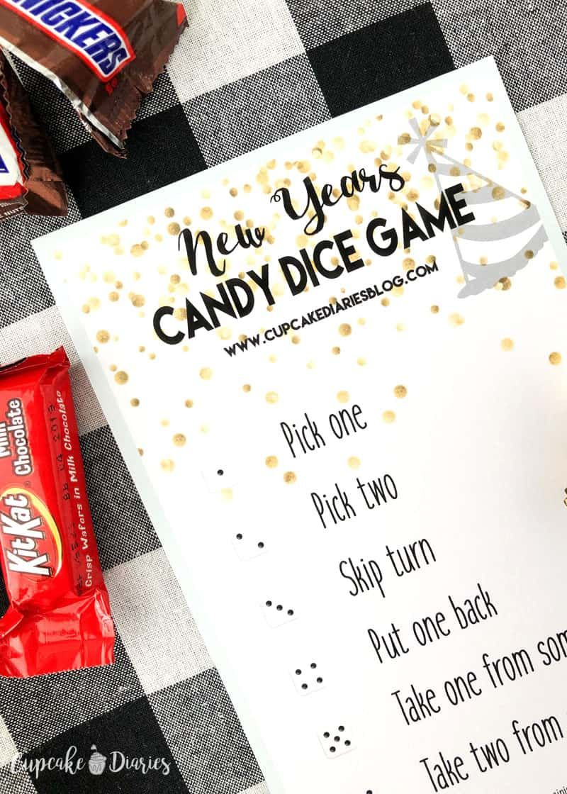 New Years Candy Dice Game Printable Game For Kids New Years