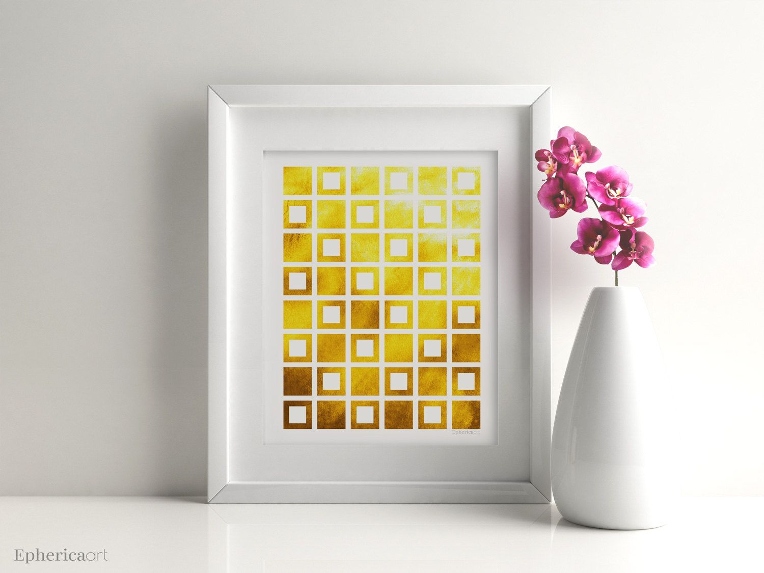 Geometric wall art, Yellow print, Yellow art, Bright mustard decor ...