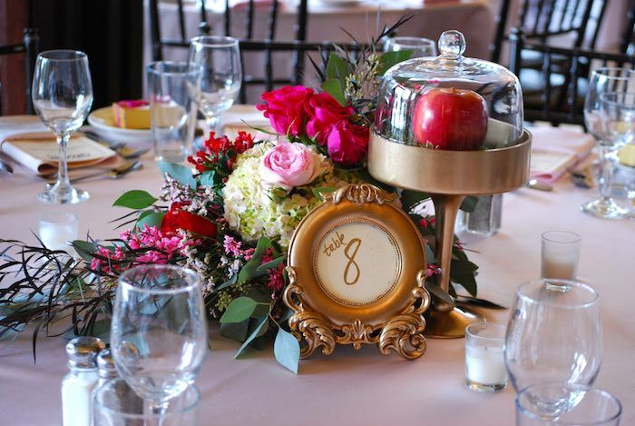 Snow white inspired baptism celebration table numbers
