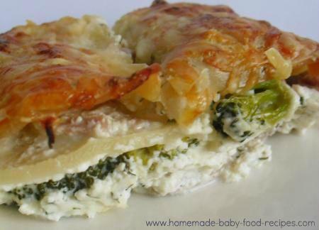Baby's tuna and broccoli lasagna