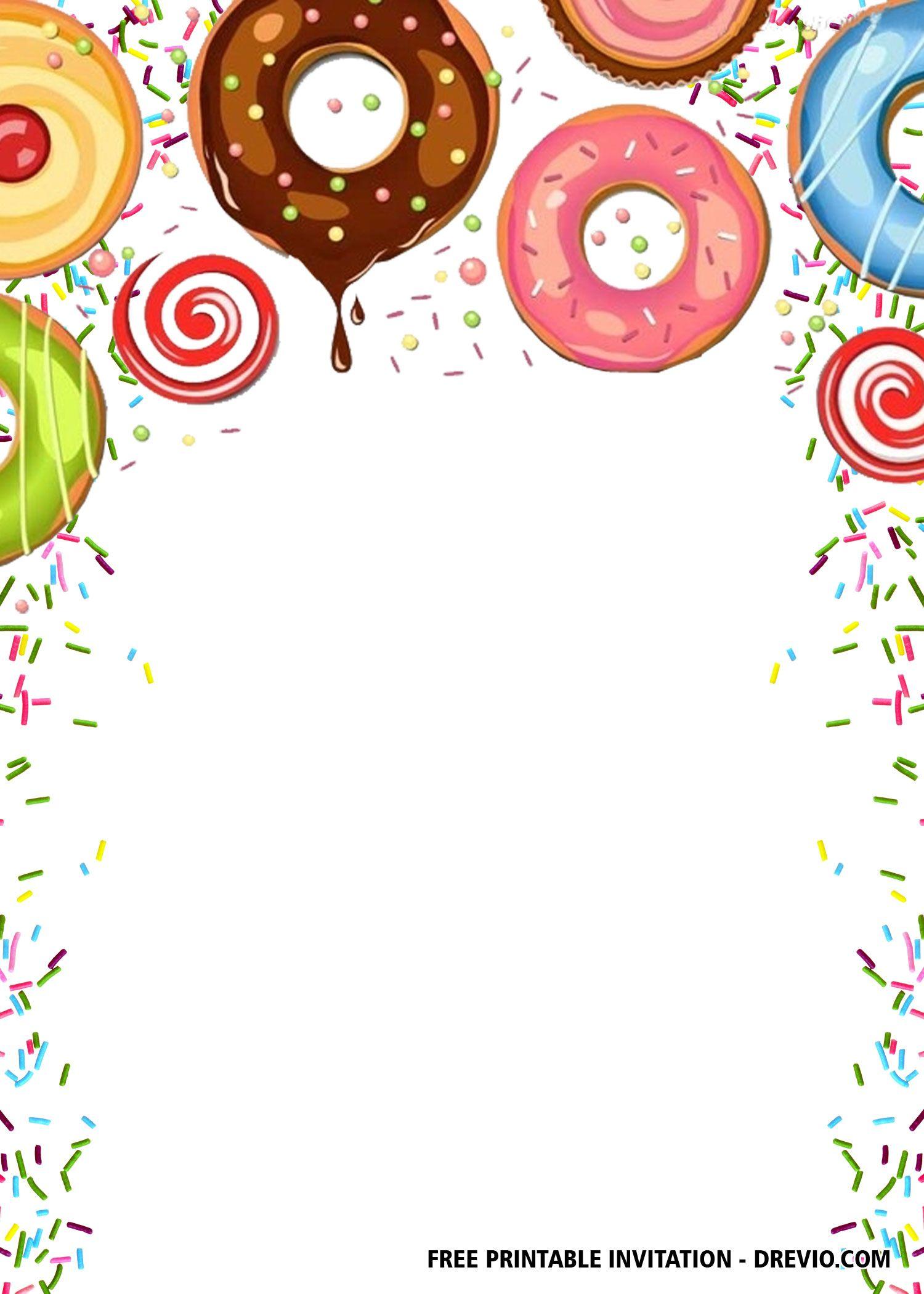 Free Editable Donuts Party Invitation Templates Free Printable Birthday Invitations Party Invite Template Birthday Party Invitations Free