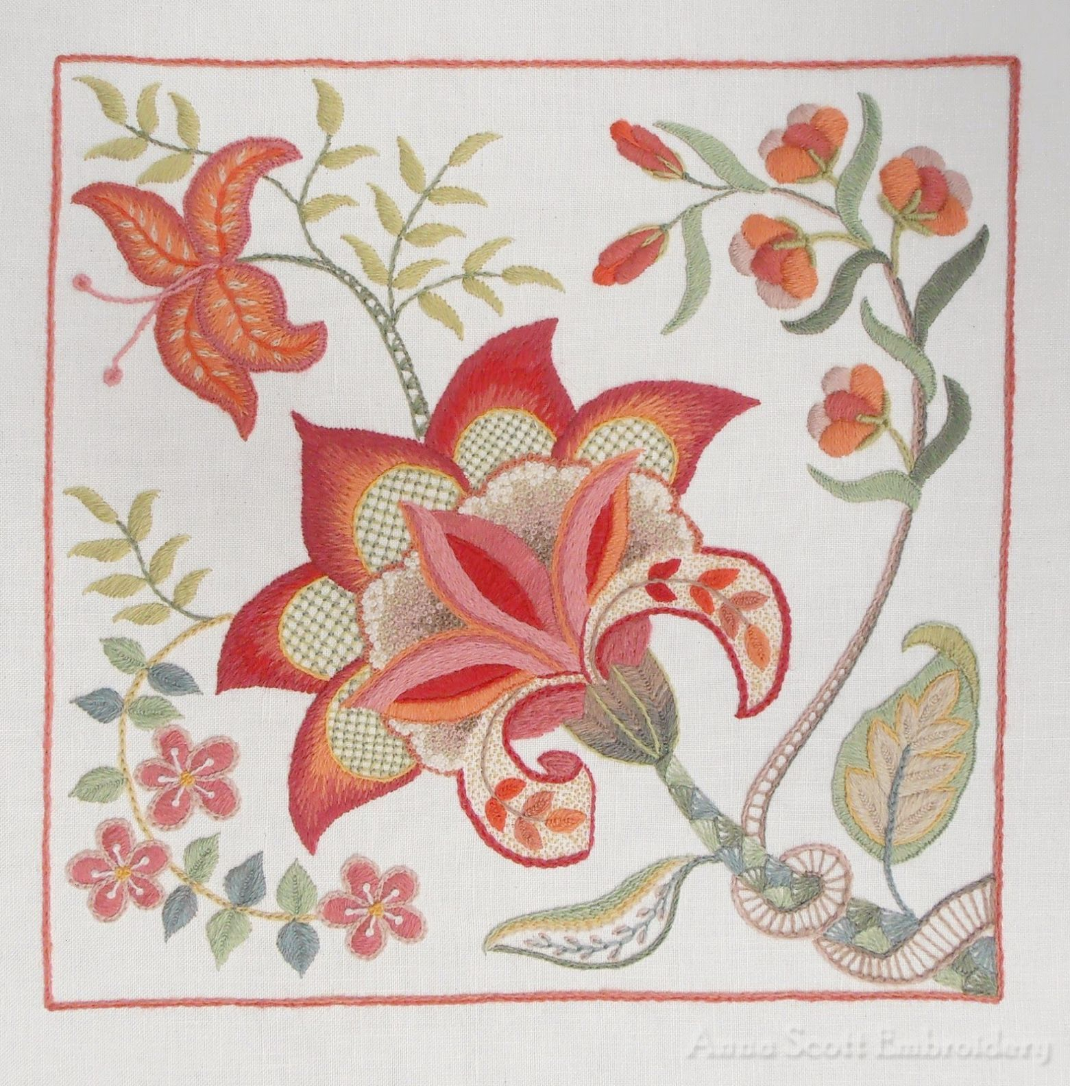 Gorgeous crewel embroidery by anna scott click through for close