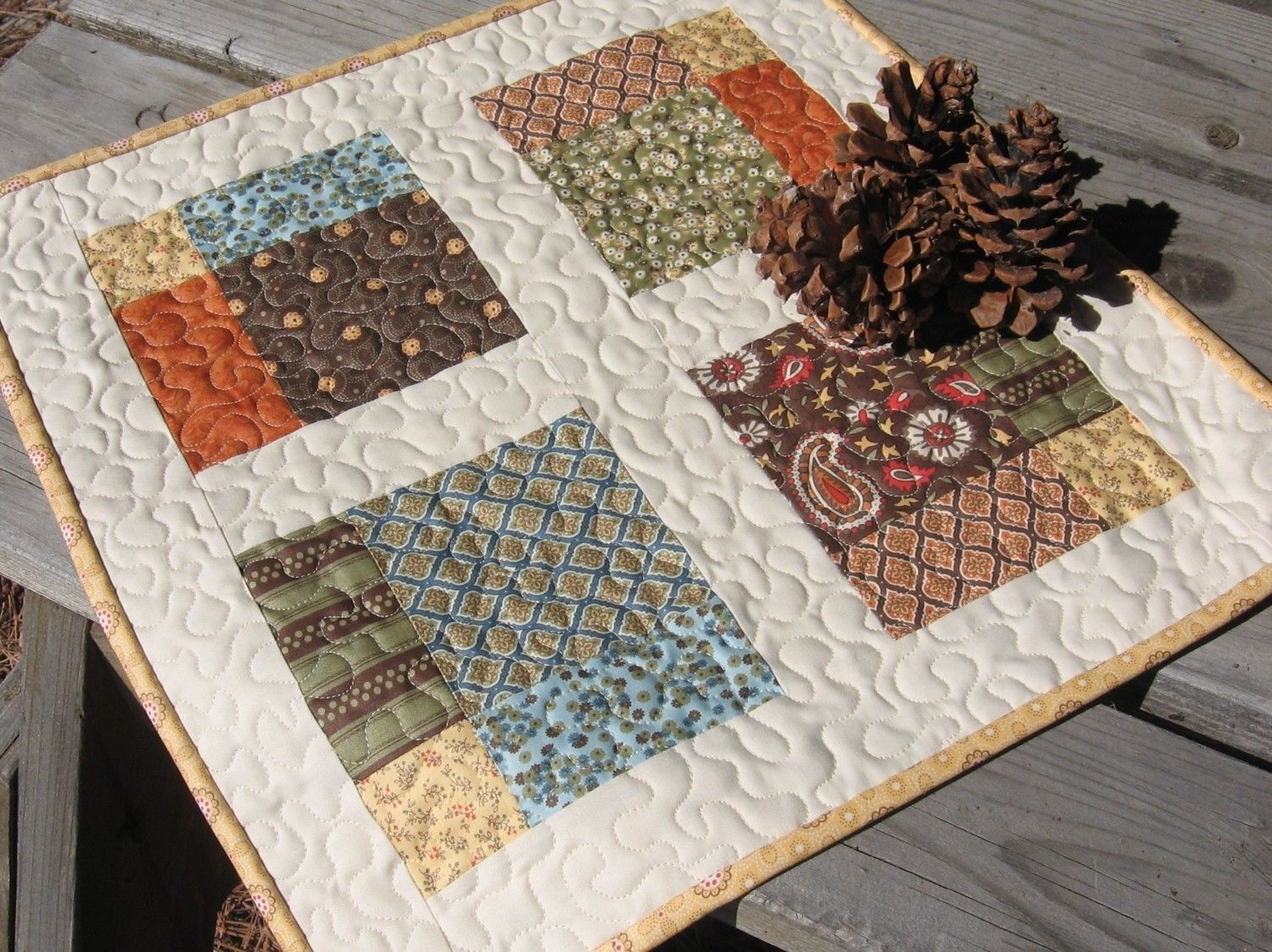 Pdf Pattern Four Square Table Topper Quilt Quilted