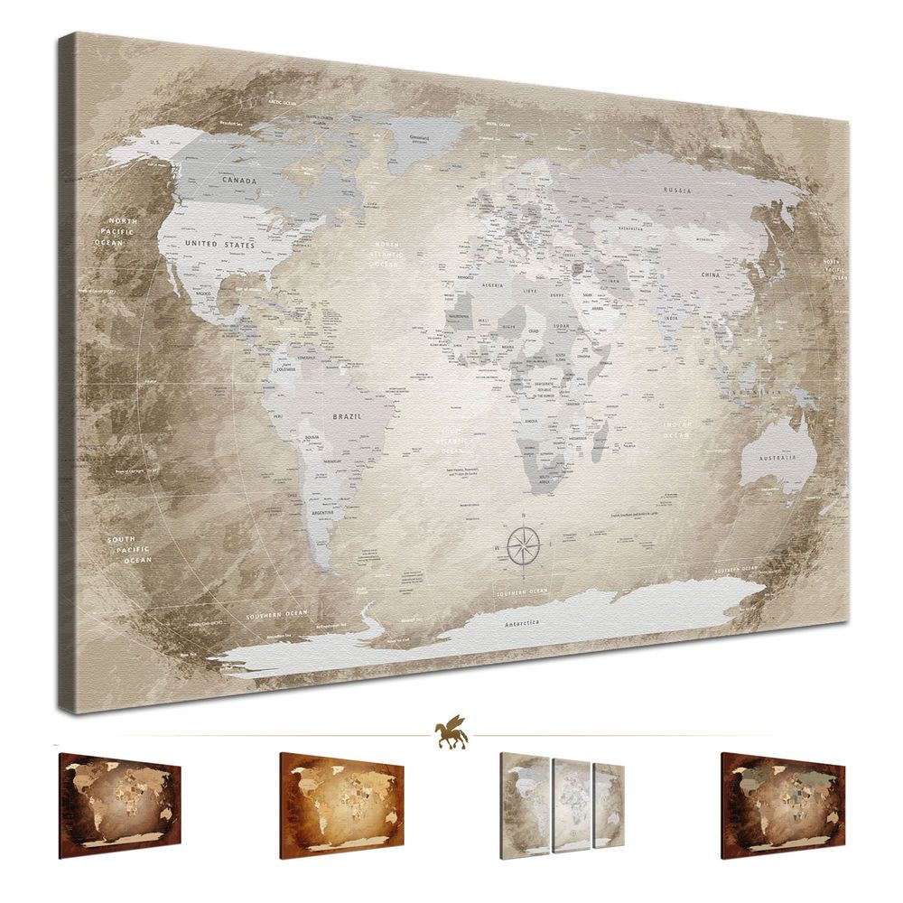 Lanakk Weltkarte Xxl Leinwand Antik Pinnwand Braun Beige 1teilig