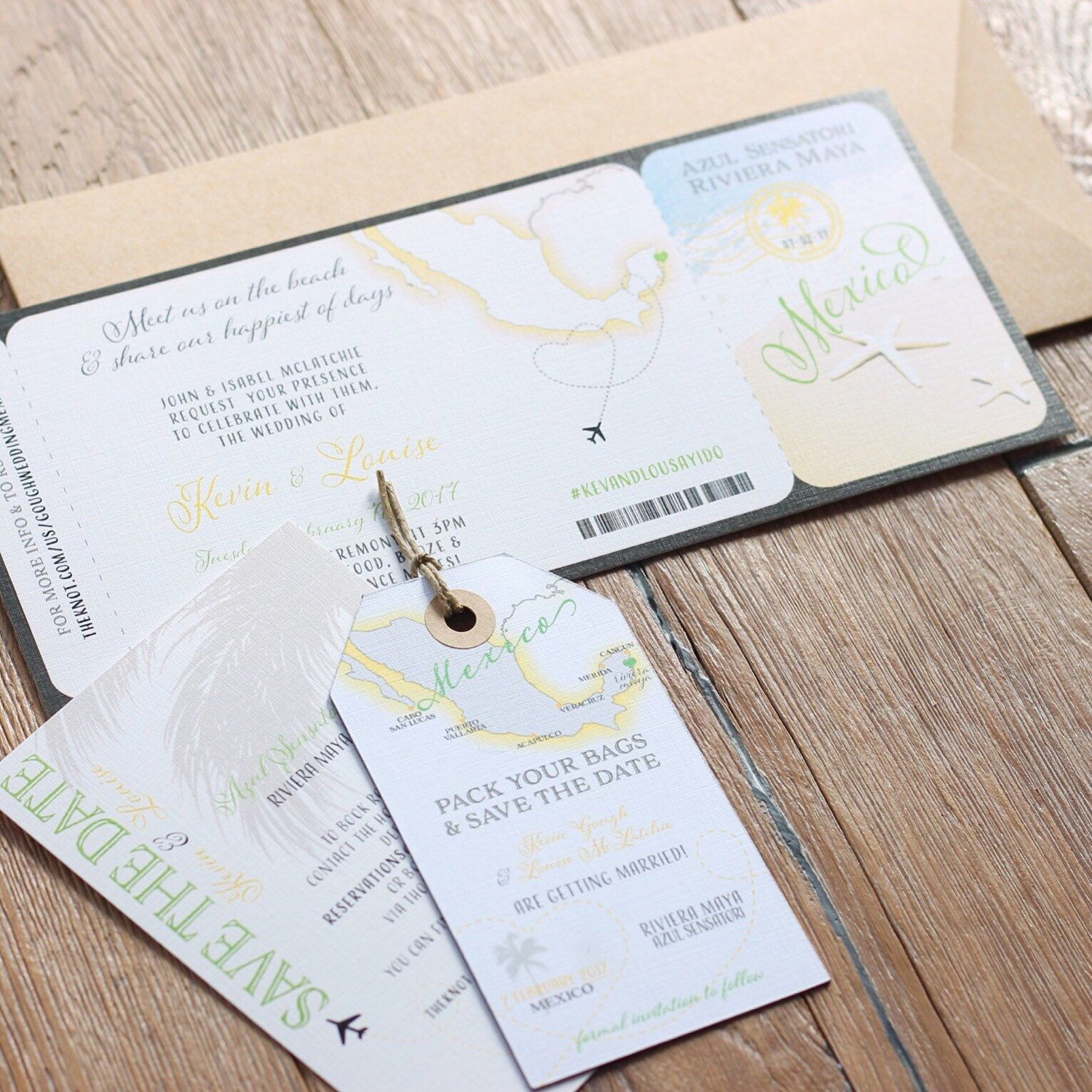 Wedding invitation boarding pass. Destination wedding. Design fee ...