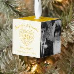 Golden diamond heart 20th Anniversary photo Cube Ornament | Zazzle.com #20thanniversarywedding