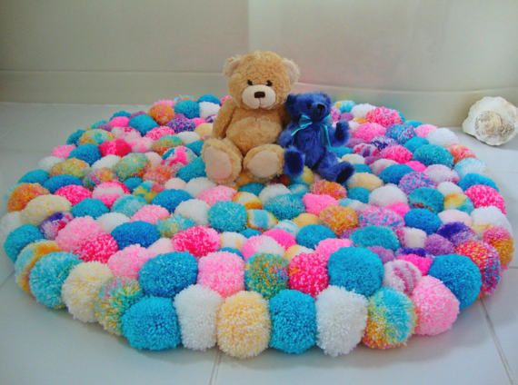 Unicorn Coloured Pom Pom Rug Girls Bedroom Rug Fluffy Cozy