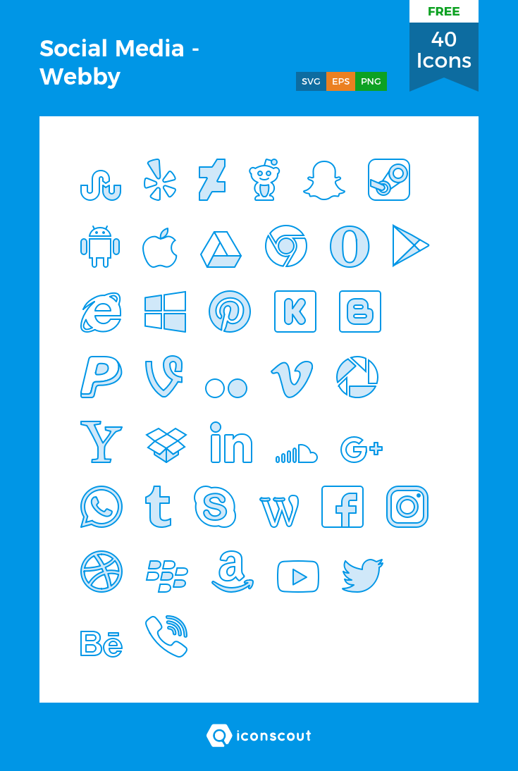 Social Media Webby Free Icon Pack 40 Filled Outline