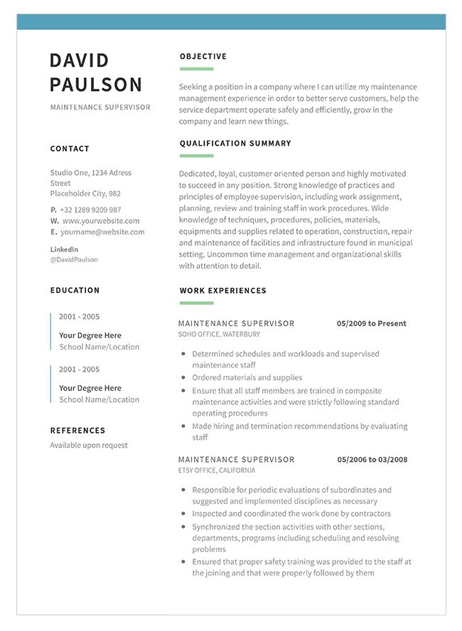Maintenance Supervisor Resume Template And Sample