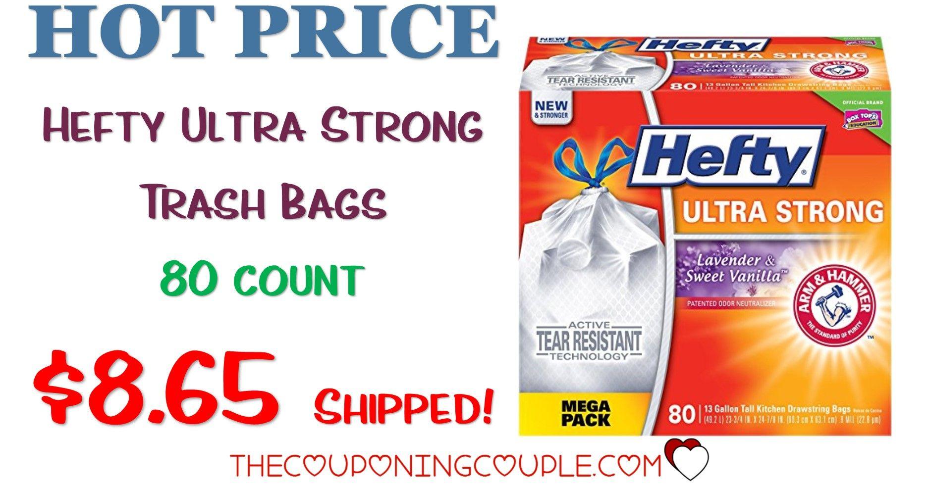 Hefty Ultra Strong Kitchen Trash Bags - 80 Count for $8.65 Shipped ...