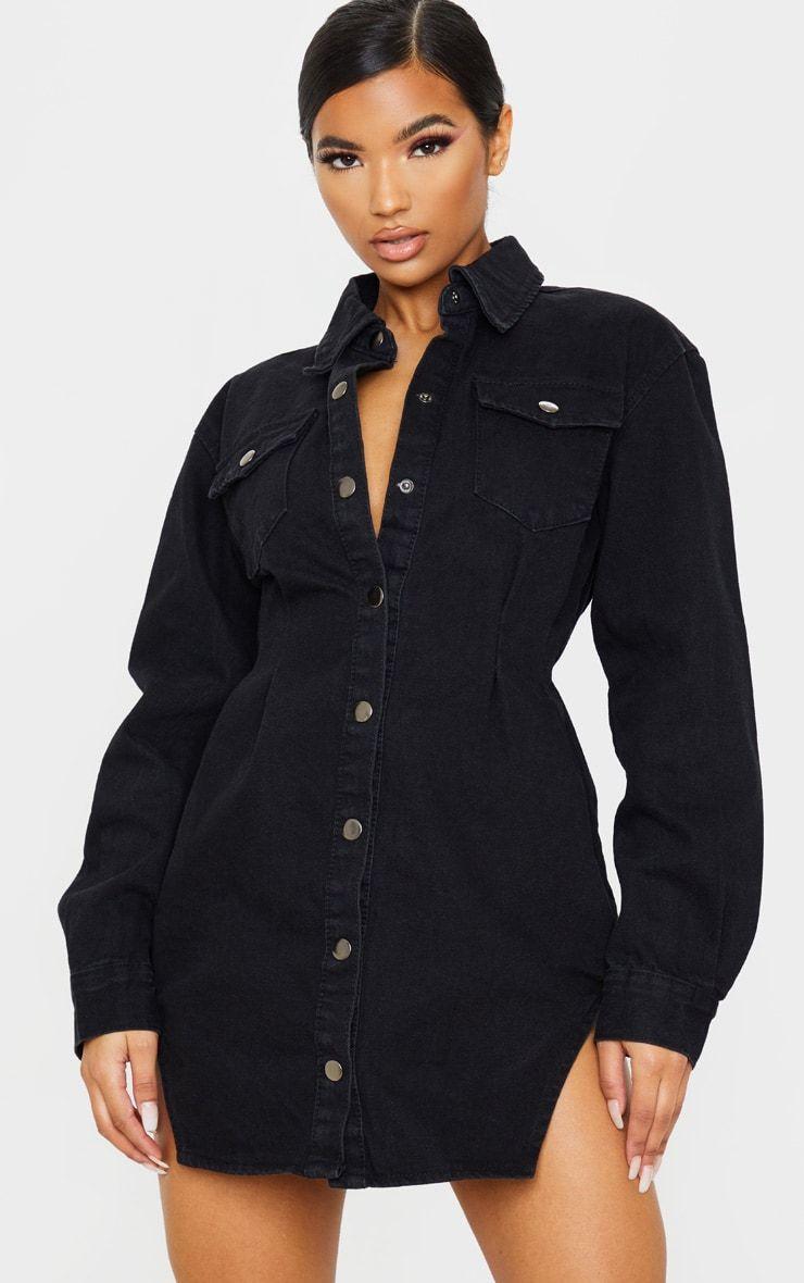 Washed Black Cinched Waist Long Sleeve Denim Dress Long Sleeve Denim Dress Denim Dress Denim Women [ 1180 x 740 Pixel ]