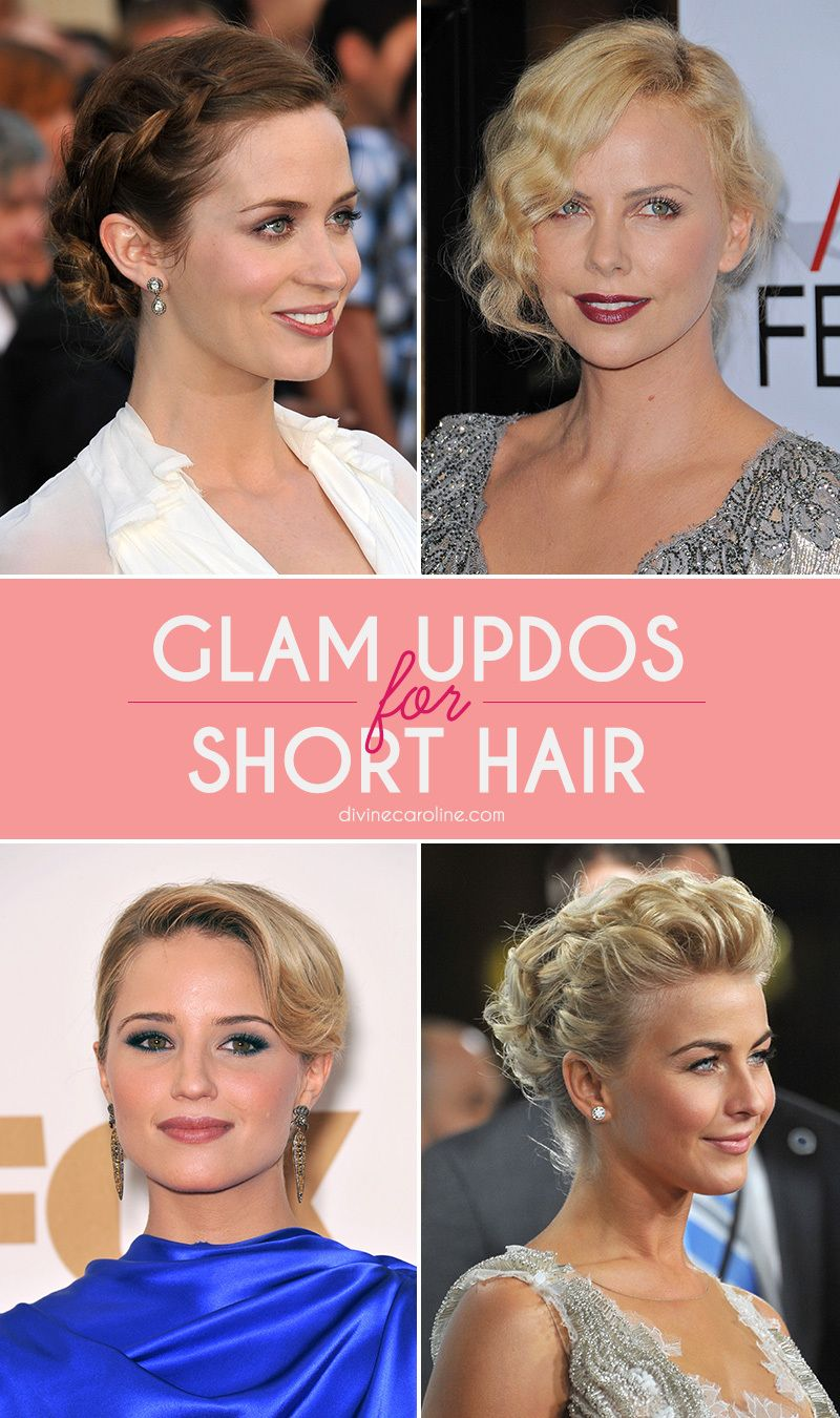 15 Glamorous Updos For Short Hair More Short Hair Updo Short Hair Styles Hair Styles