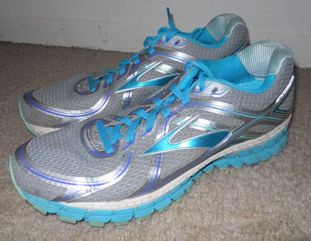 Brooks Adrenaline GTS 16 Edition silver bluebird blue tint running shoes sz 10 M #Brooks #RunningCrossTraining