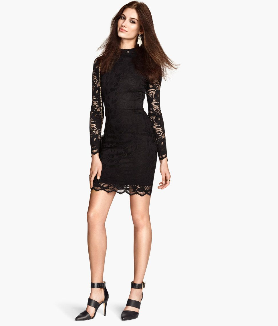 Short black lace dress with standup collar u long sleeves party