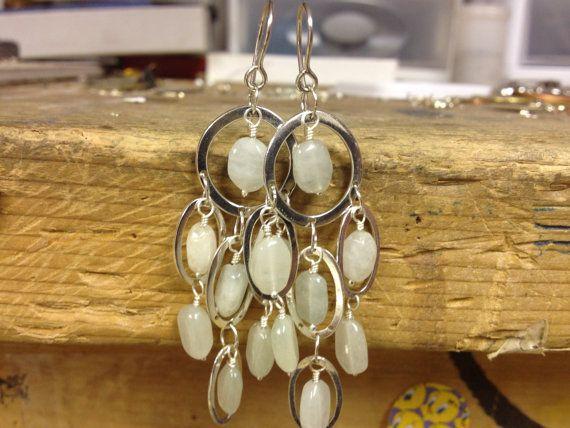 Summer Sale Aquamarine Chandelier Earrings by LindsyJewelry