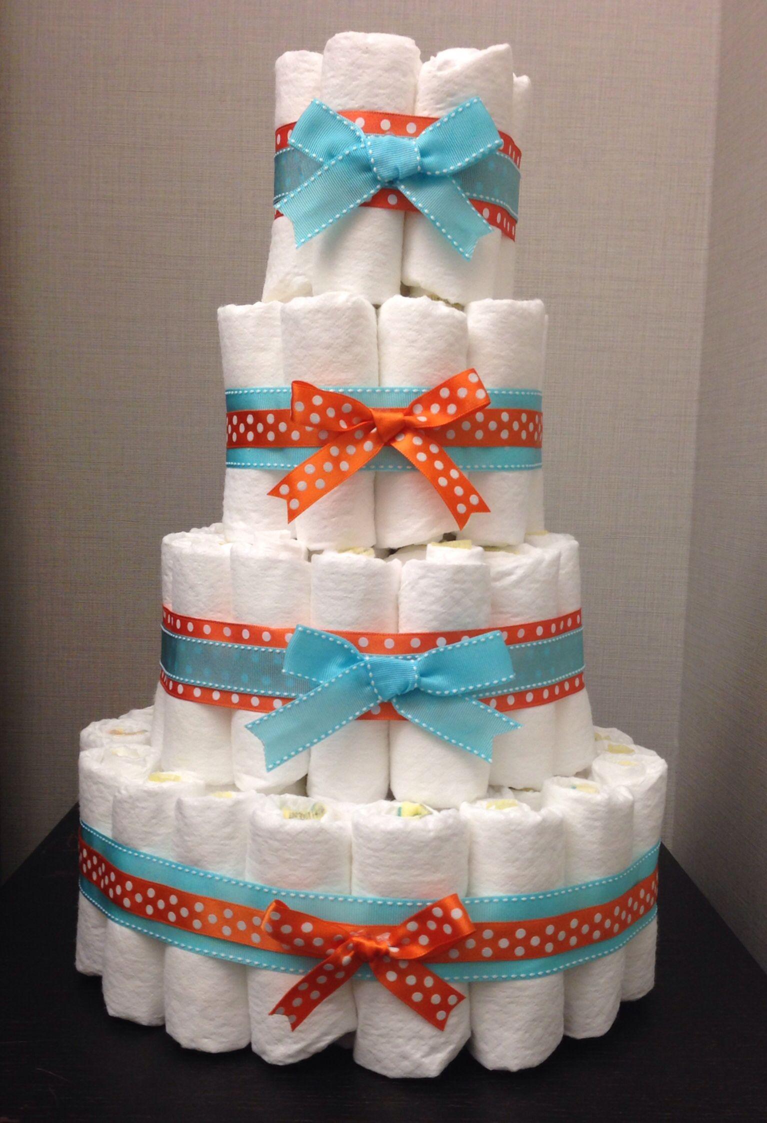Blue And Orange Diaper Cake For Baby Shower Com Imagens Bolo