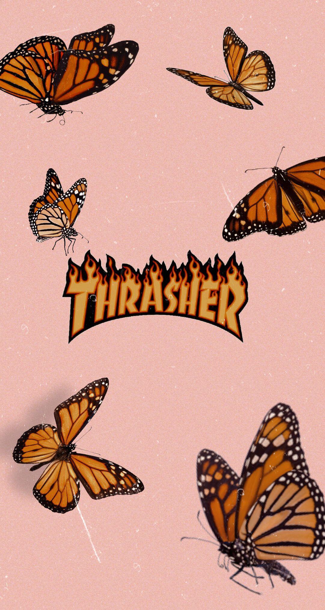 Thrasher Tapet Til Iphone 90 Er Aestetisk Sommerfugle Fersken Aestetisk Butterfly Wallpaper Iphone Iphone Wallpaper Vintage Butterfly Wallpaper Aesthetic wallpaper butterfly ipad