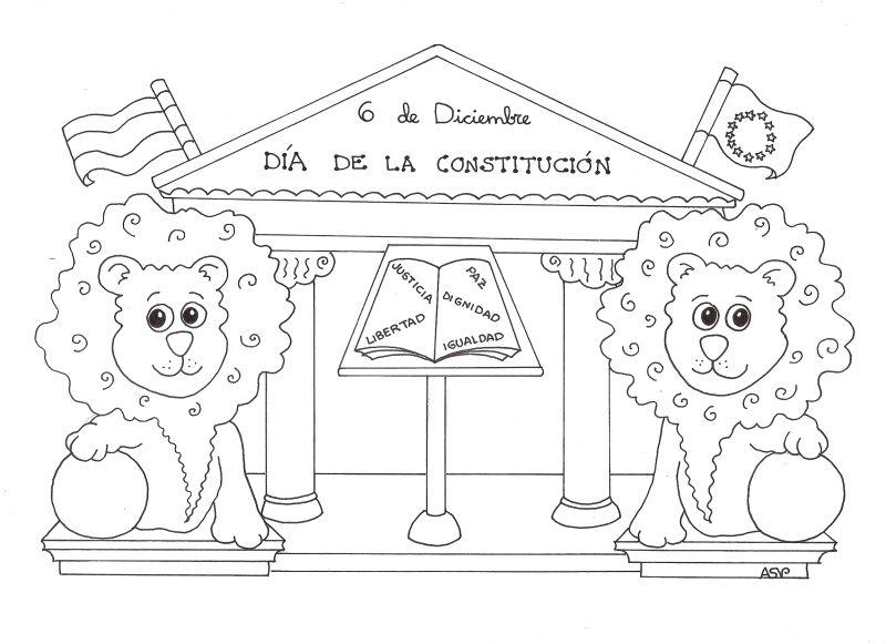 Cuento de la Constitución española para niños. Dibujos para colorear ...