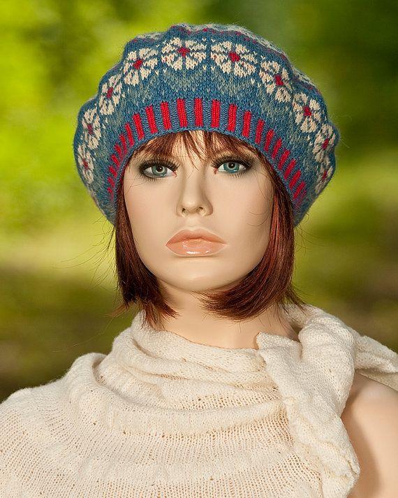 Knitted fair isle beret, fair isle tam, jacquard, flower motifs ...