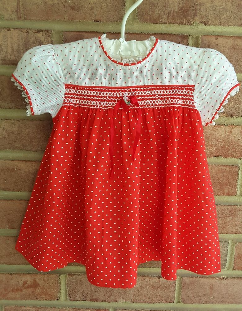 d971c6fe95f9 Vintage Little Girls Toddler Dress JCPenney Toddletime Red Dots 18 mos