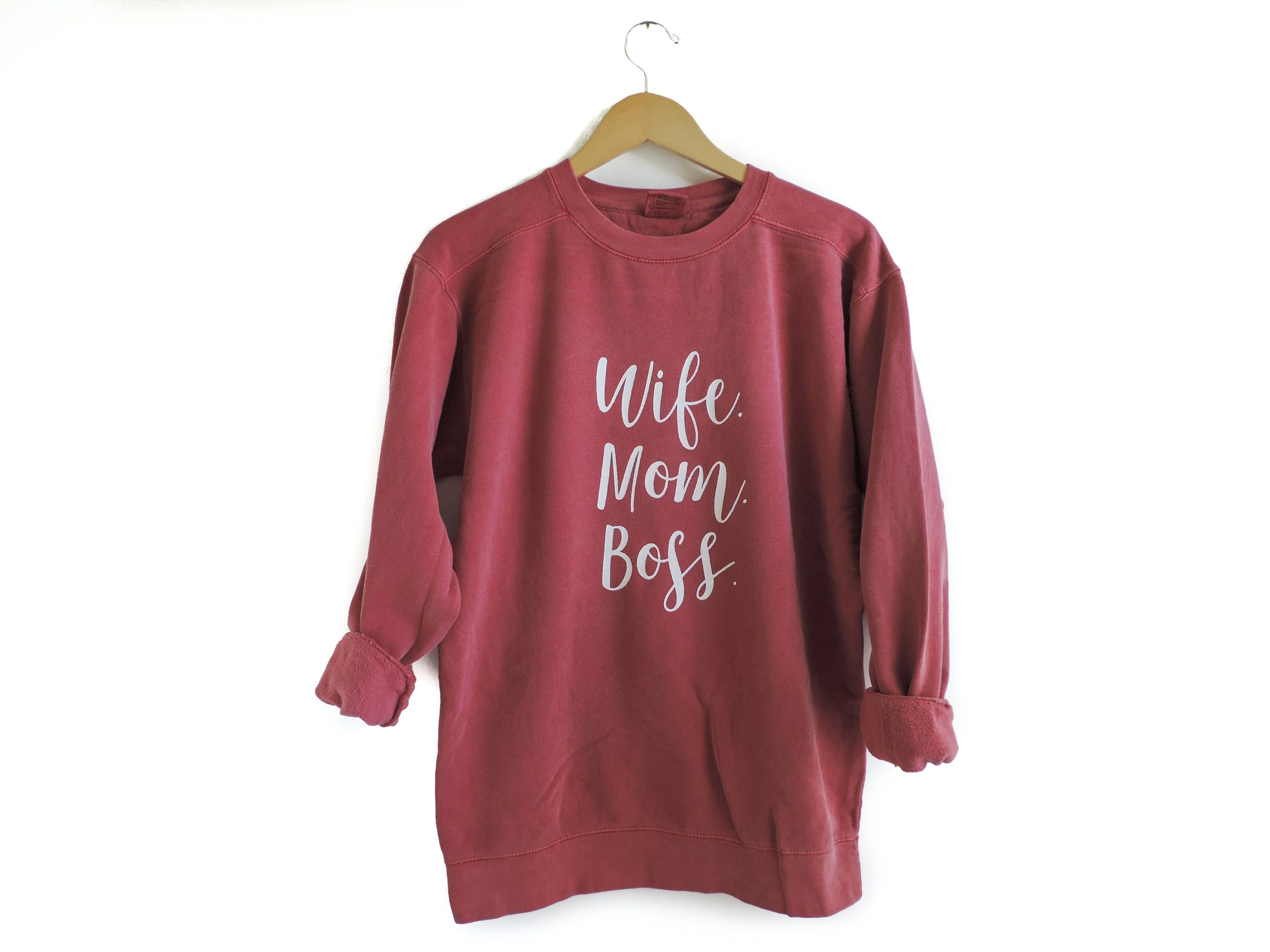 New Mom Boss Wife Crewneck Sweatshirt Pullover You Pick Color