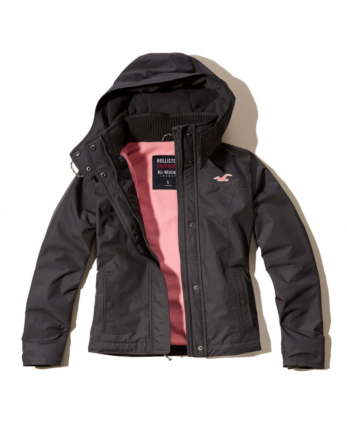 Hollister Womens All Weather Jacket Gray  b9a0f061a