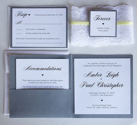 "Add a personal touch to your wedding with these hand-crafted, grey and yellow lace wedding invitations! Invitations are fully customizable - all fonts/wording can be changed - the wording included is just to show an idea of how the invitation could look. This listing is for a DEPOSIT to begin the design process. Cost of individual invitation suites is below.  WHAT'S INCLUDED: • 5.5 x 5.5"" grey invitation • 3.5 removable lace wrapped around the card • 5"" invitation printed on white cardstock…"