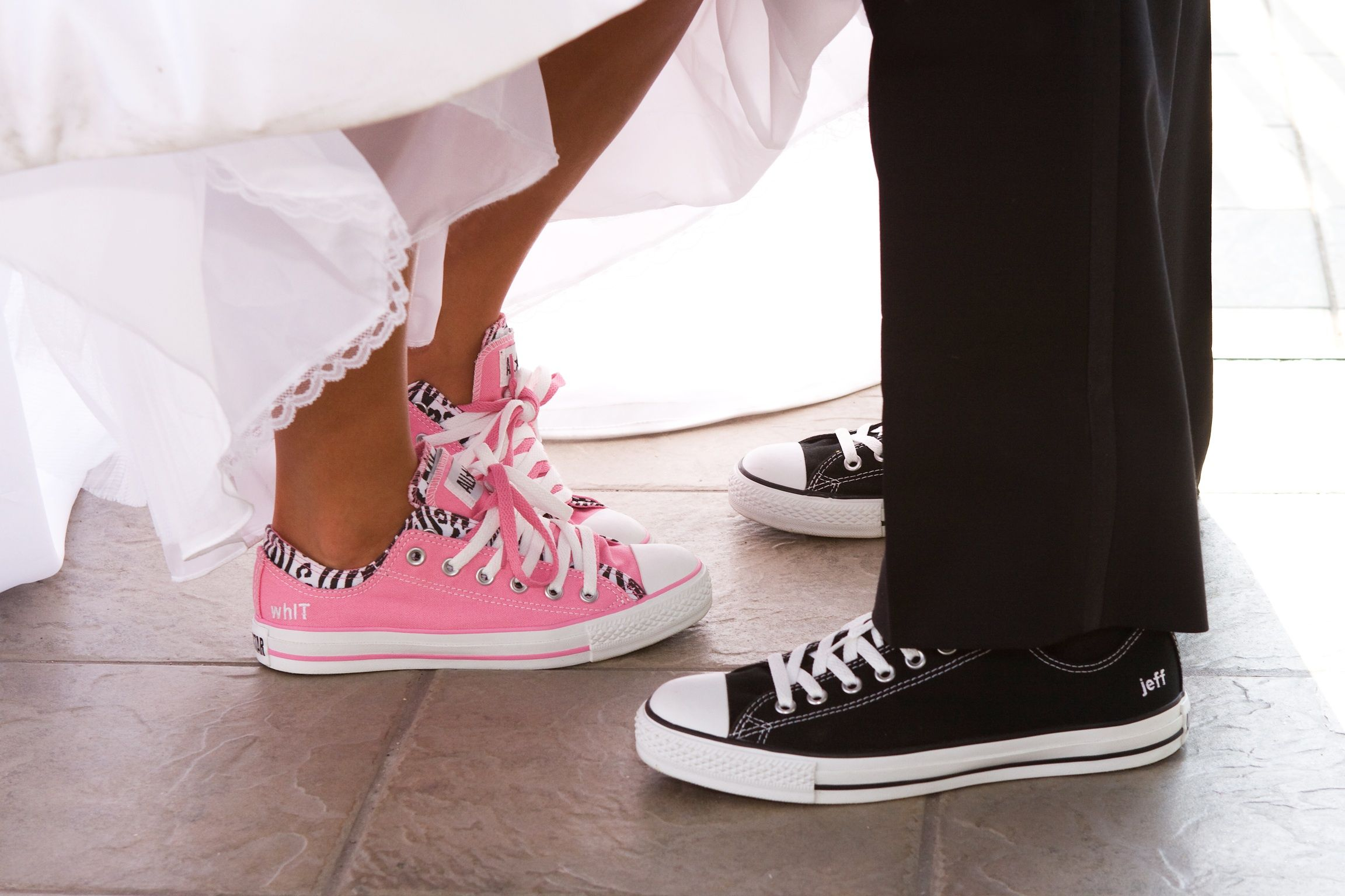 our wedding shoes :) custom made by me thanks to chuck taylor ...