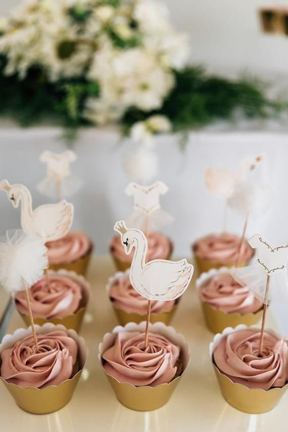 Swan Cake Toppers | Spring Swan Party Cake Picks | Swan Baby Shower Decoration | Swan Soiree Decor