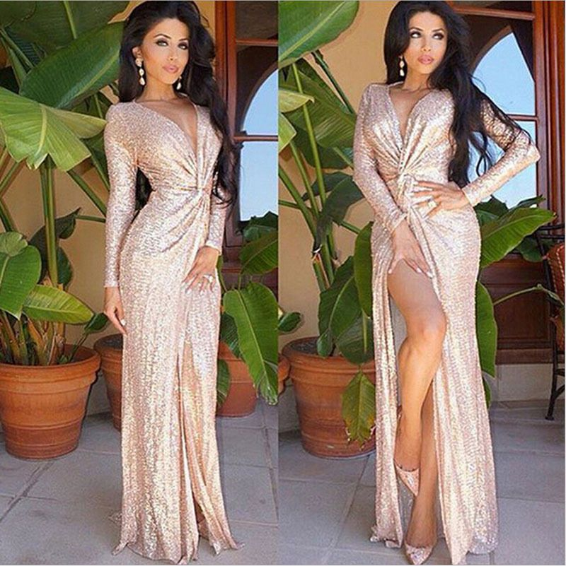 288855f516e2 Women Gold Sequin Long V Neck Evening Dress Long Sleeve Dresses Plus Size