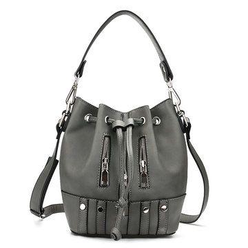 Drawstring Bucket Bag in Grey with Zips