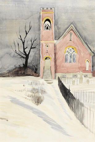 Charles Burchfield (1893-1967), Churchyard in Winter
