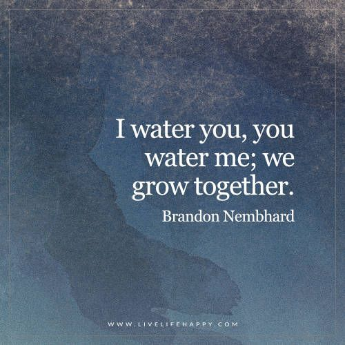 Live Life Happy: I water you, you water me; we grow together. - Brandon Nembhard