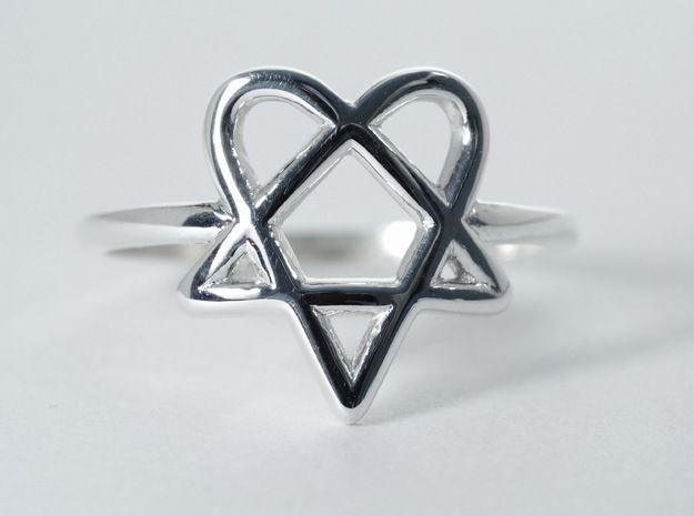 HIM Heartagram Ring 3d printed