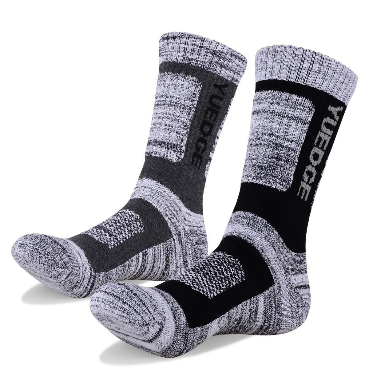 YUEDGE 5 Pair Pack Mens Crew Socks Combed Cotton Wicking Cushion Dress Socks