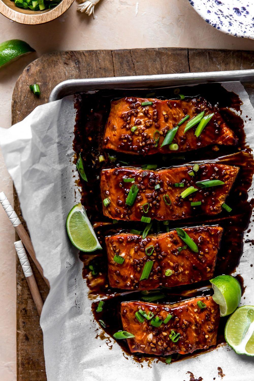 Healthy Teriyaki Salmon Bowls with Cauliflower Fried Rice | KJ and Company