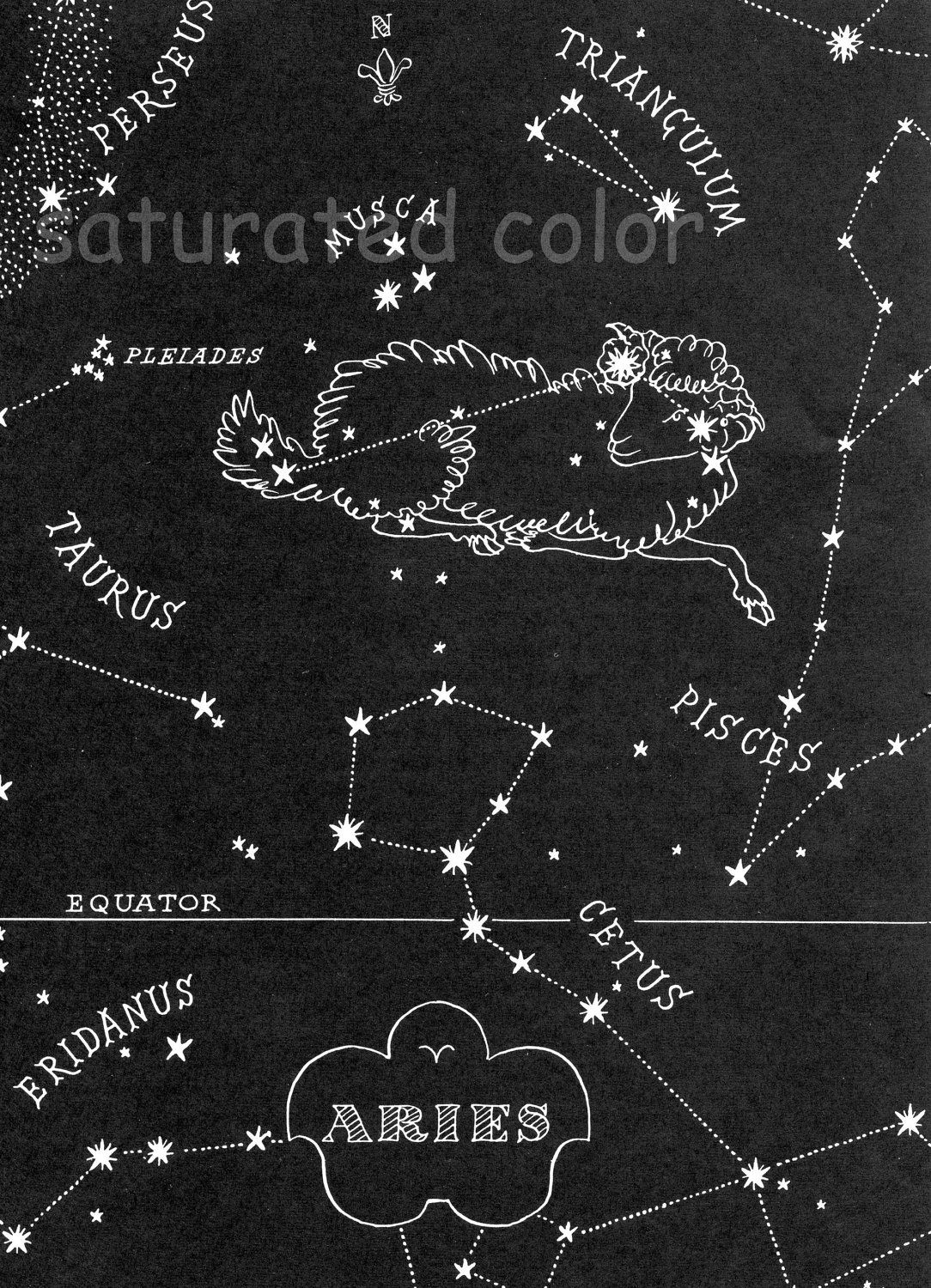 Aries Night Sky Star Chart Map Zodiac Constellation Stars From 1948 Astronomy Textbook 11 99