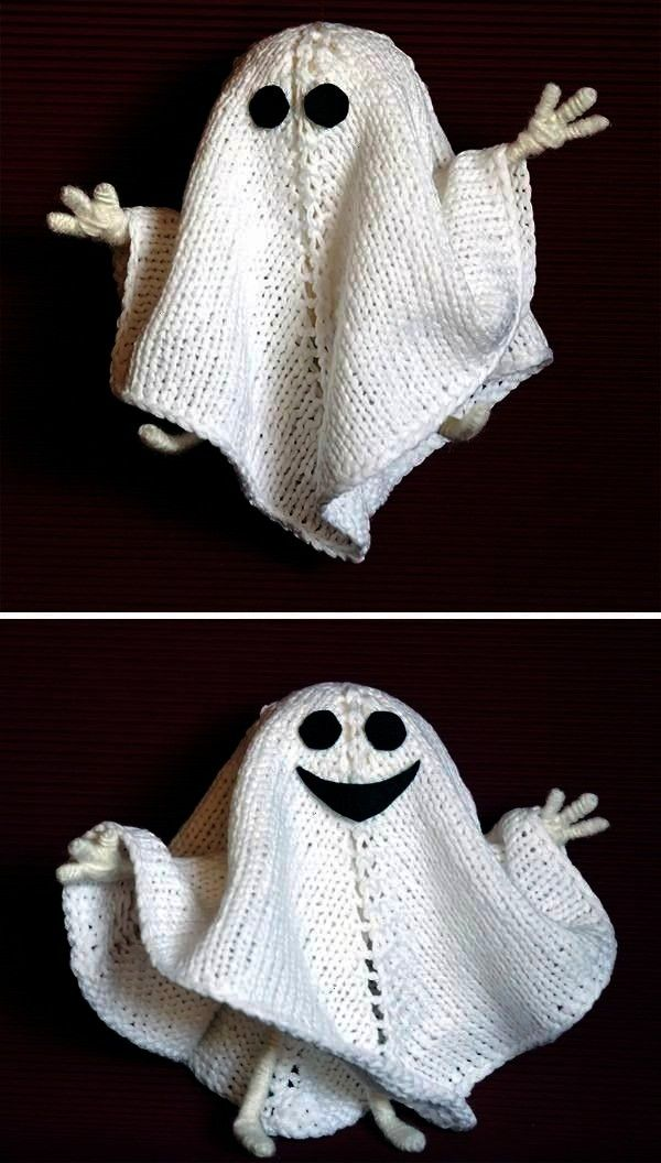 Halloween Ghost  This little ghost decoration or toy has  Knitting Patterns for Halloween Ghost  This little ghost decoration or toy has  Knitting Patterns for Halloween...
