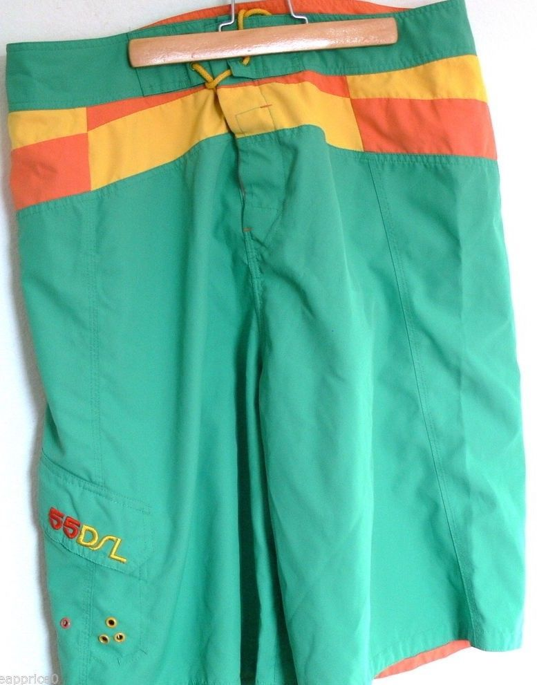 Diesel 55DSL Green Yellow Swim Trunks Mens Board Shorts Size 34 Waist