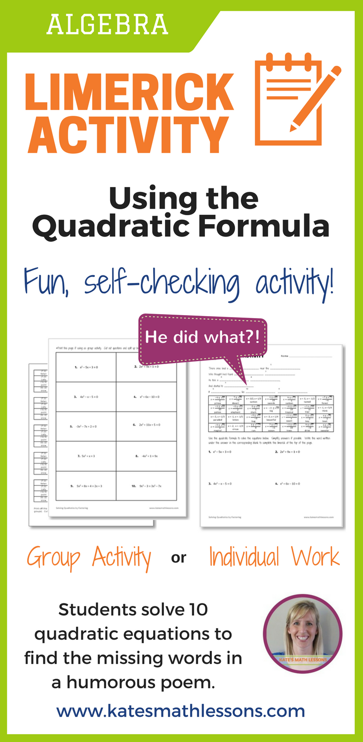 Working On The Quadratic Formula With Your Algebra Students Check Out This Fun Self Checking Activity Students Quadratics Quadratic Formula Teaching Algebra [ 1500 x 735 Pixel ]