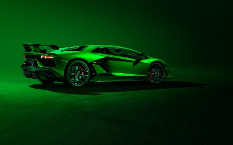 Wallpaper Side View Green Lamborghini Aventador Svj Cars