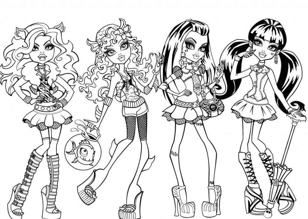 Candid image in free printable monster high coloring pages