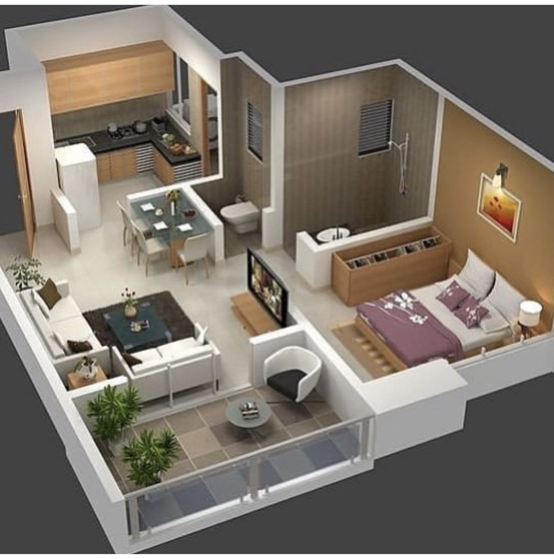 Pin By Dhiren On My Home Decorating In 2020 One Bedroom House Plans Small Apartment Plans One Bedroom House