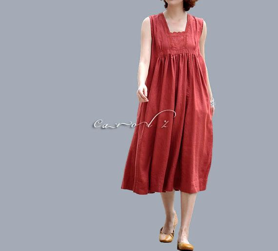 Linen Tunic Dress in Red Color Plus Size 3X Available Custom Made ...