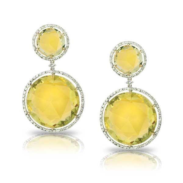 King Jewelers Lemon Quartz Diamond Halo Dangle Earrings Http Kings1912