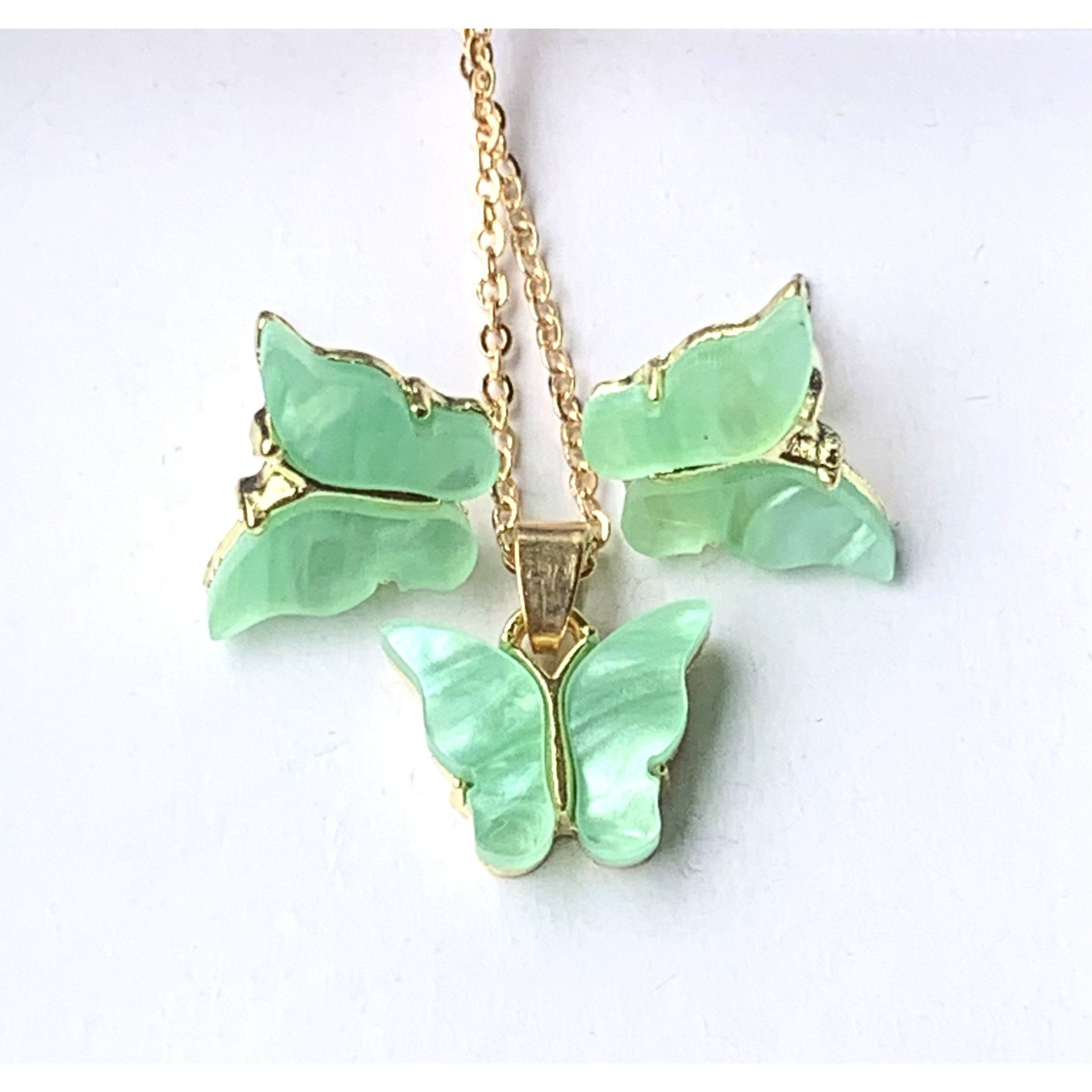 Butterfly Necklace and Earring Set – Jade