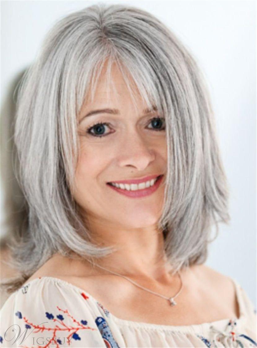medium soft layered straight fluffy synthetic hair capless wig