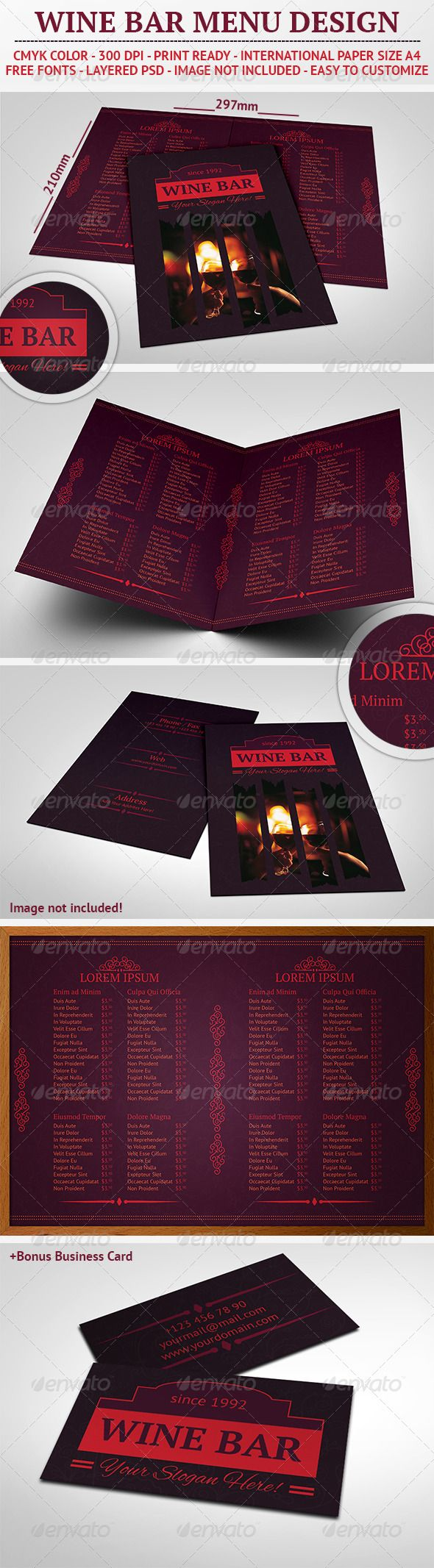 Wine Bar Menu Design  Menu Templates Food Menu Template And Template